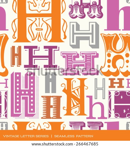 Seamless vintage pattern of the letter H in retro colors - stock vector