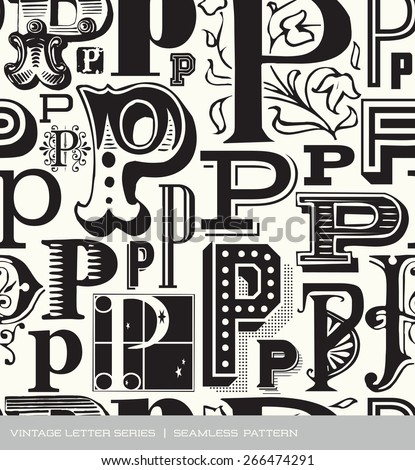 Seamless vintage pattern of the letter in P  - stock vector
