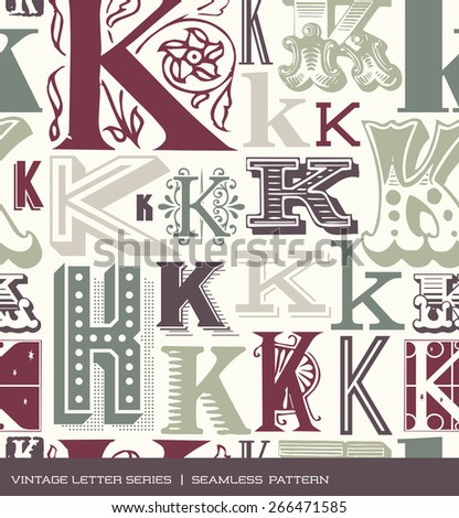 Seamless vintage pattern of the letter K in retro colors - stock vector