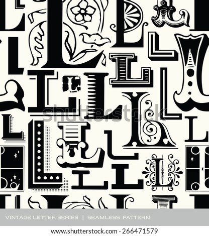 Seamless vintage pattern of the letter L - stock vector