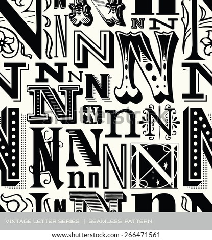 Seamless vintage pattern of the letter N - stock vector