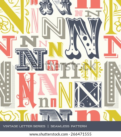 Seamless vintage pattern of the letter N in retro colors - stock vector