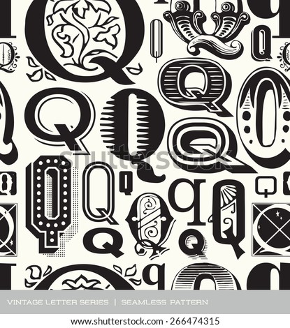 Seamless vintage pattern of the letter Q  - stock vector