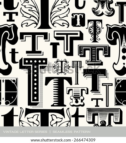 Seamless vintage pattern of the letter T  - stock vector