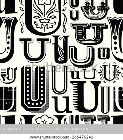 Seamless vintage pattern of the letter U  - stock vector