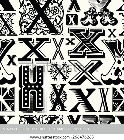 Seamless vintage pattern of the letter X  - stock vector
