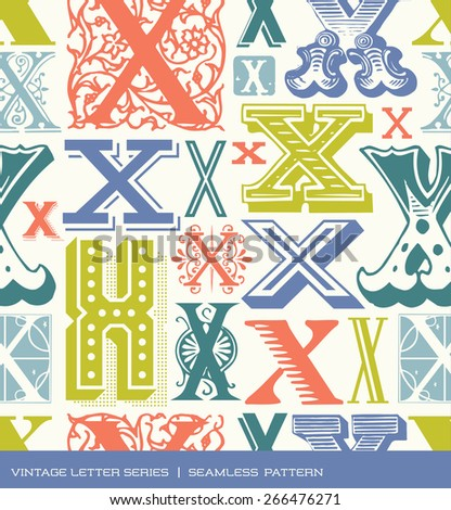 Seamless vintage pattern of the letter X in retro colors - stock vector