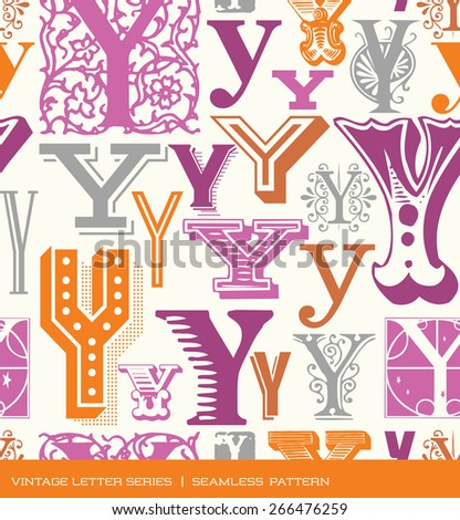 Seamless vintage pattern of the letter Y in retro colors - stock vector