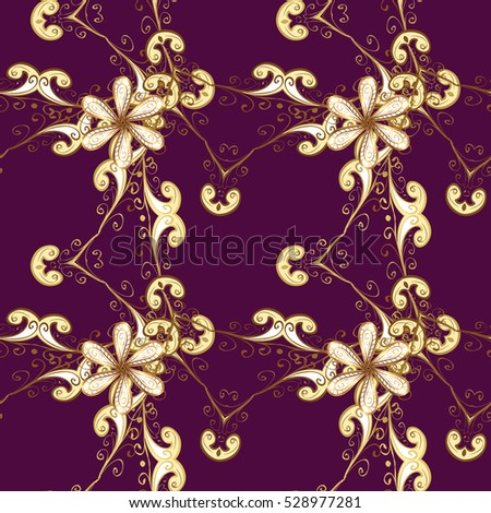 Seamless vintage pattern on purple background with golden elements.