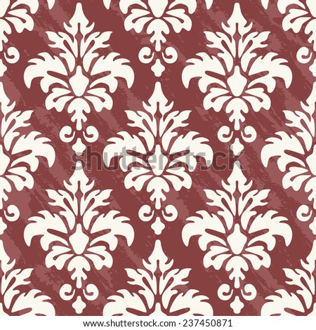 Seamless vintage pattern. Vector textured print. Damask print can be used for wallpaper, fabric, invitation in classical style. Contrast ornament in trendy color Marsala - stock vector
