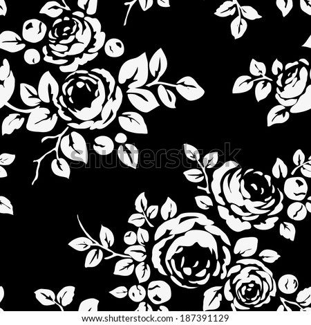 Seamless vintage pattern with flowers. Black background with flower silhouettes - stock vector