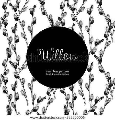 Seamless vintage pattern with ink hand drawn willow tree twigs. Vector natural background. Easter illustration - stock vector