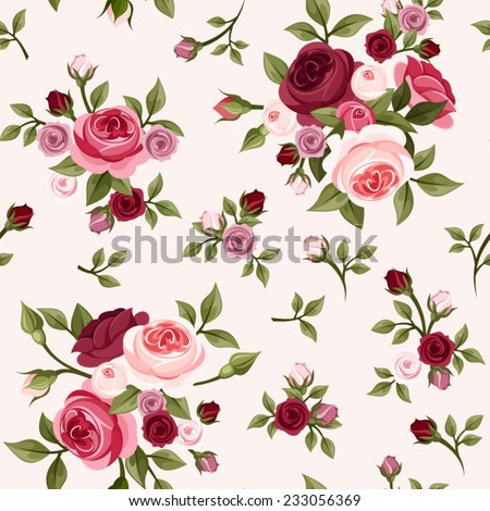 Seamless vintage pattern with red and pink roses. Vector illustration. - stock vector