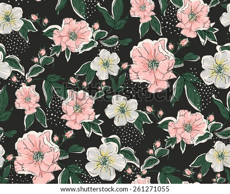 Seamless Vintage print background vector pattern - stock vector