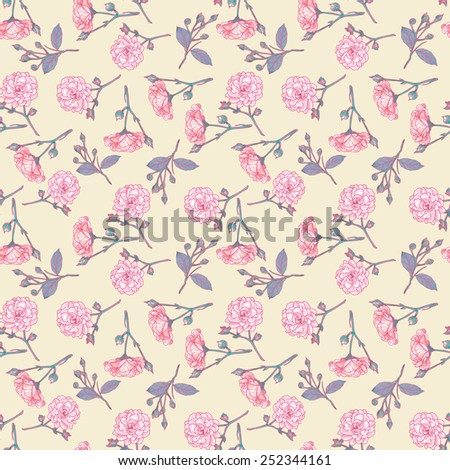 Seamless vintage rose pattern. Delicate background with pastel colors. Seamless patterns are used in textile design, postcards, calendars, websites, wallpapers.  - stock vector