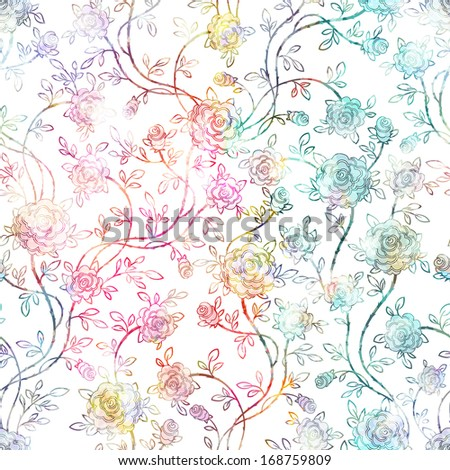 Seamless vintage Roses Pattern. Vector, EPS 10  - stock vector