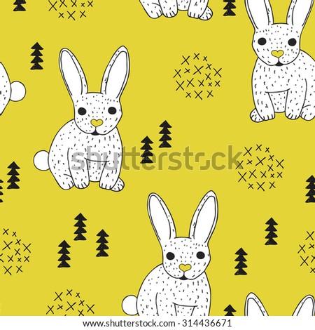 Seamless vintage style bunny kids illustration pattern adorable scandinavian style animal theme mustard background pattern in vector - stock vector