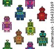 Seamless vintage toy robots pattern - stock vector