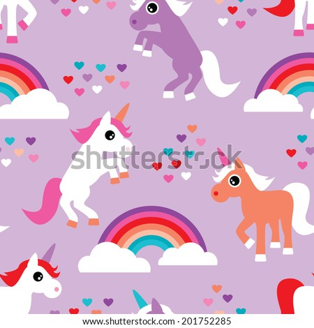 Seamless violet rainbow and dancing unicorn love kids background pattern print in vector - stock vector