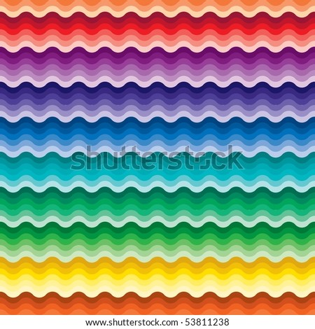 Seamless vivid rainbow wave background - stock vector