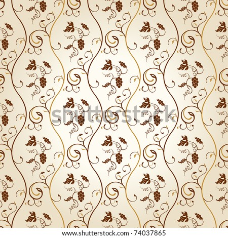 Seamless wallpaper background grapes decor vintage vector - stock vector