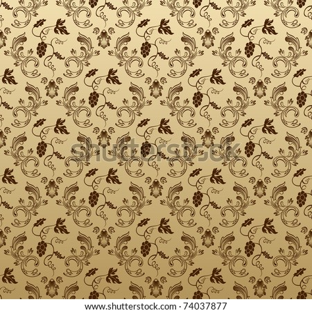 Seamless wallpaper background grapes vegetative vintage vector - stock vector