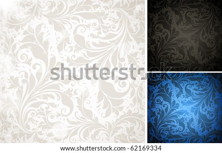 Seamless Wallpaper colorful set, Vector Background for vintage design with retro ornament with leafs and flowers. eps 10. - stock vector
