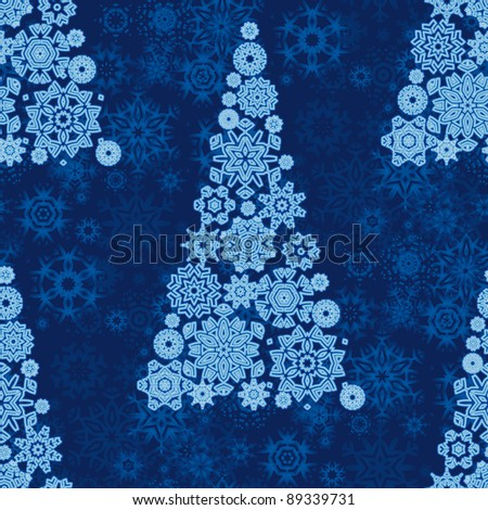 Seamless wallpaper made by snowflakes christmas trees. - stock vector