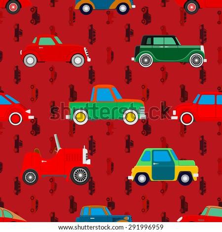 Seamless wallpaper of cars. Vector illustration - stock vector