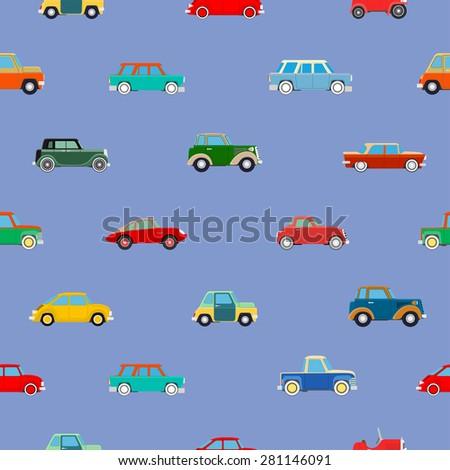 Seamless wallpaper of set vintage cars. Vector illustration - stock vector
