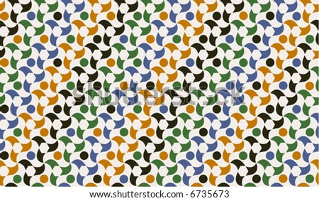 Seamless wallpaper of traditional Moorish design from Spain. Mosaic-like. Colors easily replaceable. - stock vector