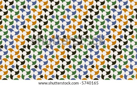 Seamless wallpaper of traditional Moorish design from Spain. Original as mosaic. Colors easily replaceable. - stock vector