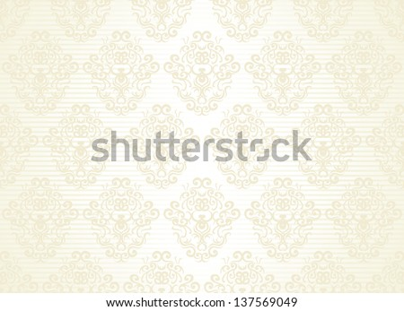 Seamless wallpaper on a striped background. Vintage design - stock vector