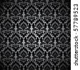 Seamless wallpaper pattern, black - stock photo