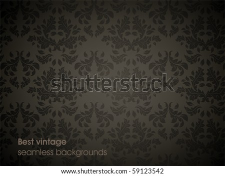 Seamless wallpaper pattern, black - stock vector