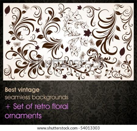 Seamless wallpaper pattern, black + set of floral ornaments for web site or flyer vintage summer design - stock vector