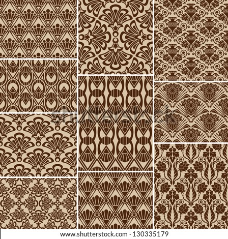 Seamless wallpaper pattern, ornament, vector, collection