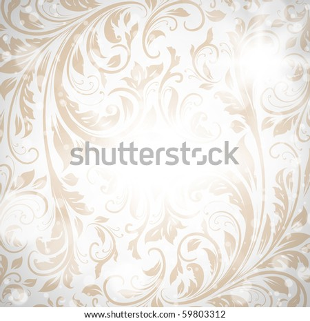 Seamless wallpaper pattern, white - stock vector