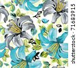 Seamless wallpaper pattern with lily on light background, vector illustration - stock photo