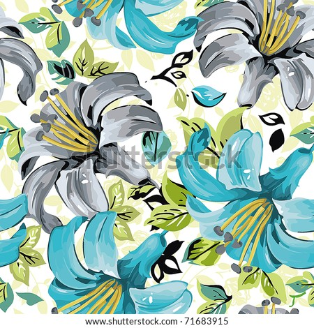 Seamless wallpaper pattern with lily on light background, vector illustration - stock vector