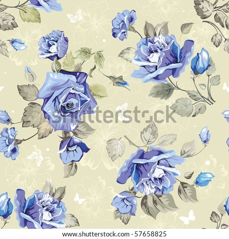 Seamless wallpaper pattern with of blue roses and butterfly, vector illustration - stock vector