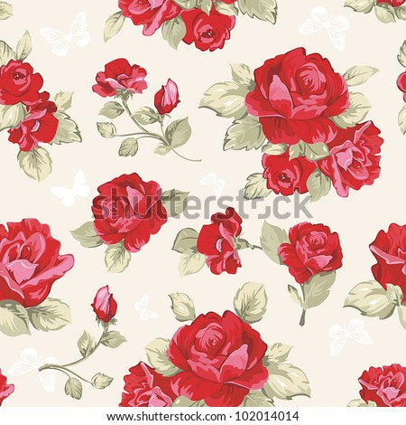 Seamless wallpaper pattern with of collection red roses on design background, vector illustration