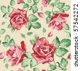 Seamless wallpaper pattern with of collection red roses on light design background, vector illustration - stock vector