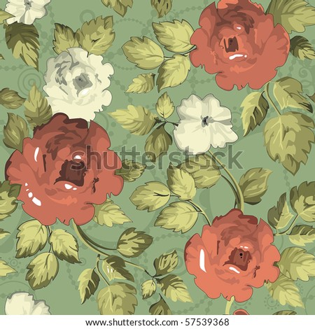 Seamless wallpaper pattern with of red roses on green design background, vector illustration - stock vector