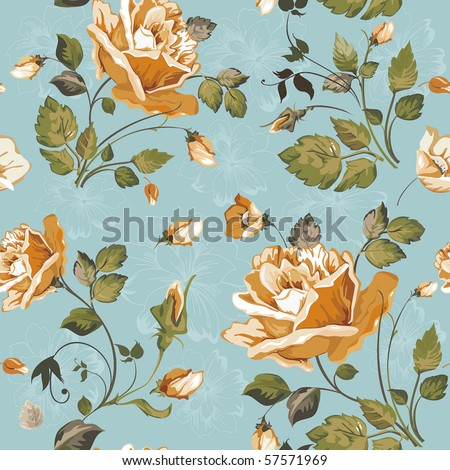 Seamless wallpaper pattern with of yellow roses on blue background, vector illustration - stock vector