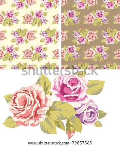 Seamless wallpaper pattern with pink roses and a separate element on a white background - stock vector