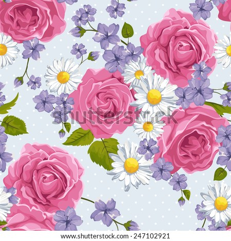 Seamless wallpaper pattern with  pink roses and camomile on design background, vector illustration. - stock vector