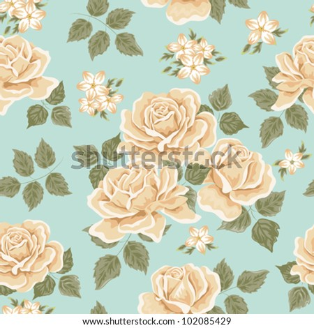 Seamless wallpaper pattern with roses - stock vector