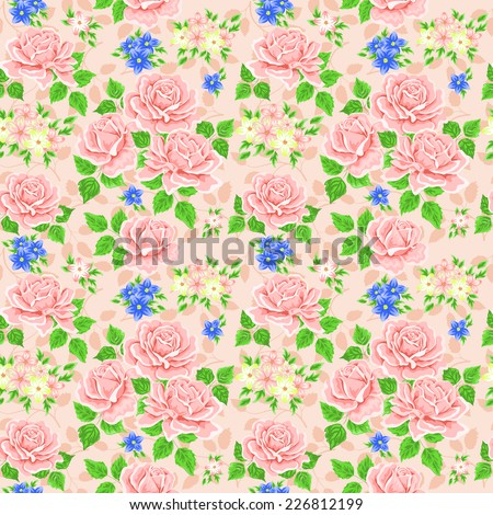 Seamless wallpaper pattern with roses. Vector - stock vector