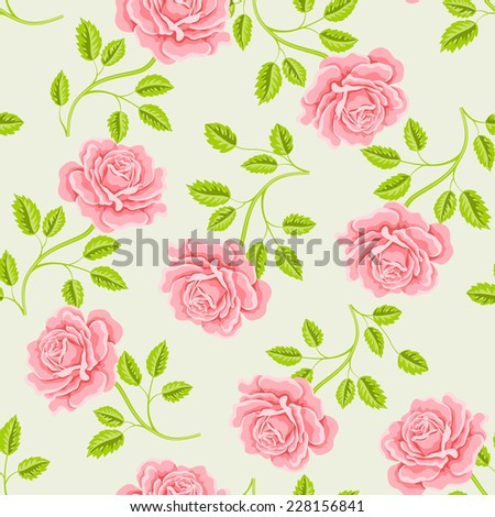 Seamless wallpaper pattern with roses. Vector illustration - stock vector